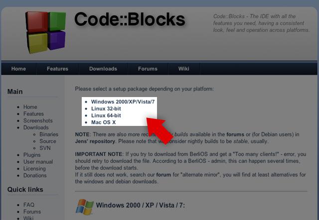 Installazione e primo utilizzo del compilatore Code::Blocks